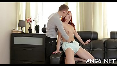 Alluring playgirl is sucking cock wildly after deep pussy slamming