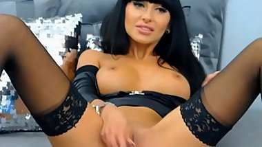 Stunning Cougar in Stockings is dildoing her Amazing Shaved Pussy on Cam