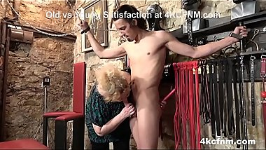 Mature BBW Tortures Young Slave in the Basement
