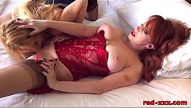 Red and her girlfriend play with their new sex toys
