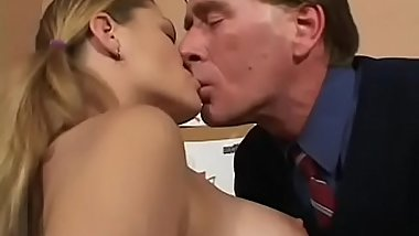 Horny teacher licks student'_s shaved pussy and fingers gazoo