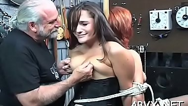 Coarse spanking and harsh bondage on woman'_s bawdy cleft