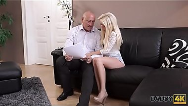 DADDY4K. Mature businessman cums in blonde'_s mouth to finish hot sex