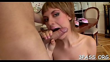 Babe performs truly great blow and gets pussy drilled