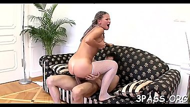 Gal stands doggy style getting love tunnel drilled by dildo