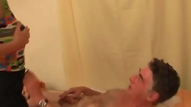 Young amateur babe sucks and bonks an older guy passionately