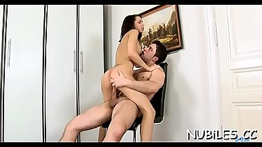 Sex appeal hotty stands in different positions getting nailed
