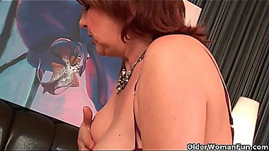 Chubby grannies with big tits give their old pussy a workout