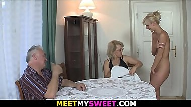 Mature couple tricks his blonde girlfriend into 3some