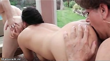 Horny busty mature lesbians giving